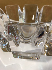 "Vintage Orrefors ""Corona"" Thick Crystal Brilliance Made in Sweden by Lars Hellsten Artist Signed 7 1/4""x 4 3/4"" Like New"