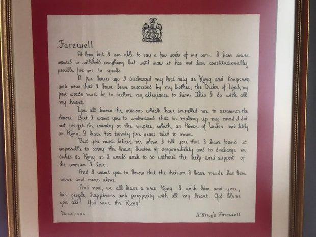 A Kings Farewell Square Art Print 21in x 21in; Actual Letter Written by Edward VIII  Inspirational Letter of Love and Abdication to the Throne