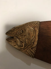"Wood and Brass Fish Wall Hanging  by Apco Made in Japan 1940s Vintage Home & Restaurant Decor 26""x7"""