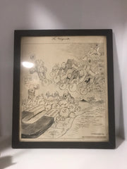 "Antique Lithograph NEWSPAPER ART The Chicago Tribune "" The Magnet"" 1925 Framed Print"