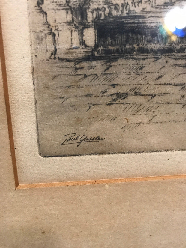 "Early 1900s Fine Impression Etching by Paul Geissler, Pencil Signed "" The Cathedral """