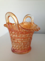 Antique 1900s Dugan Glass Co Marigold Carnival Glass Small Basket