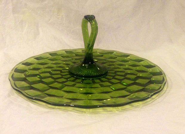 Vintage Green Cake Plate Cup Cake Optic Glass Design Center Handle Holiday Cup cake Display