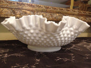 Fenton Large Double Ruffle Hobnail Bowl 50s 60s  Milk Glass