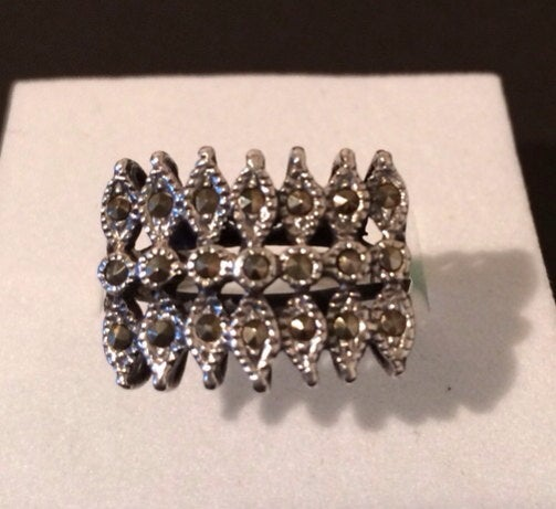 Sterling Silver 925 Marcasite  Ring Vintage