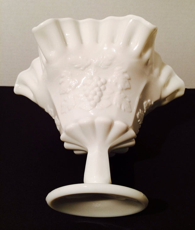 Westmoreland  Milk Glass Compote Double Ruffle Centerpiece