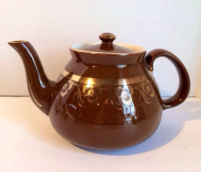 Hall's Teapot Brown with Gold Edging