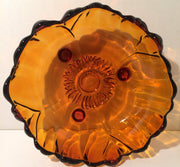 Amber Glass Scalloped bowl  by Colony by Indiana Glass Co Vintage