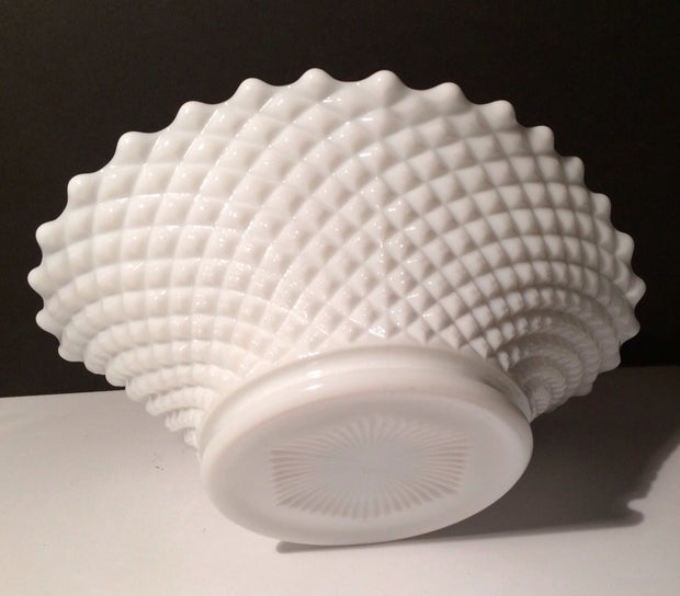 English Hobnail Centerpiece Bowl Westmoreland Milk Glass Cottage Chic