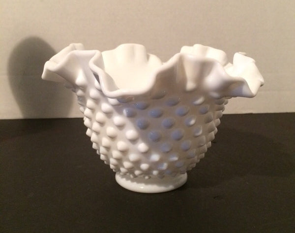 Fenton Small Double Ruffle Hobnail Bowl 50s 60s  Milk Glass Vintage