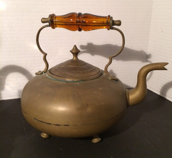 Antique Brass Teapot Glass Handle Victorian