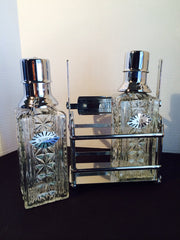 Vintage Scotch  & Rye Chrome Pump Decanters with Caddy BAREWARE
