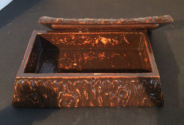 "1940s Syroco Wood Log Trinket Box Rustic ""Cut Log"" Design"