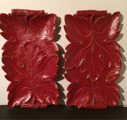 Syroco 1940 wall hanging/Dish Leaves Decor brick Red/distressed Gold Undertones