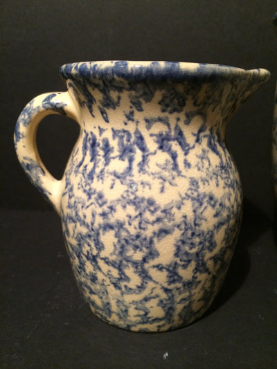 Antique Blue and Cream Crock set 2pc by Robinson Ransbottom & Roseville