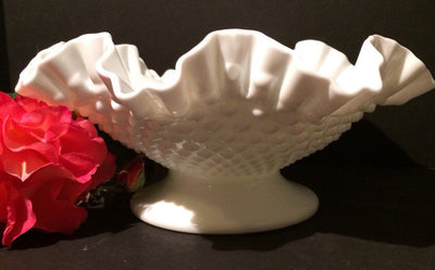 Fenton Vintage Double Ruffle Hobnail Bowl Pedestle Cottage Chic