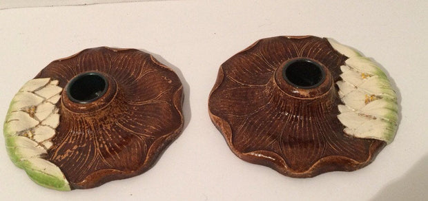 Lotus Flower SET of 2 Candle Holders by Syroco Wood Original 1930-40s