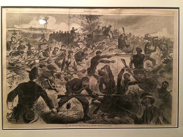 Harpers Weekly Genuine Antique Newspaper Print 1862 A Bayonet Charge Framed Historical History Collection