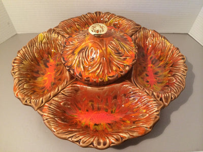 1960s California Originals  chip & dip Lazy Susan Lava Fire Pottery Party Bowls On SALE 1/2 Price