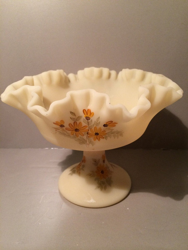 Fenton Art Glass Signed Hand Painted Pedestal Ruffled Custard Bowl