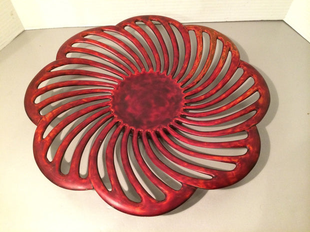 Vintage Occupied Japan  1940s Artistic Marini Red Enamel Metal Reticulated Tray Handcrafted  Large also Wall Hanging