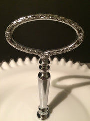 Fenton Vintage Silvercrest LARGE Plate w/Handle 1950s Cookies Cupcakes Cottage Chic