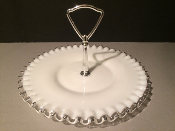 Fenton Small Vintage Silvercrest  Plate with Handle Cookies Cupcakes Cottage Chic 1950s Edition