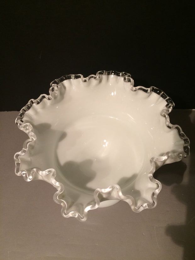 Fenton Silvercrest Ruffled Edge pedestal bowl 1950