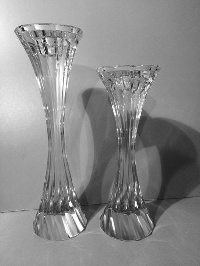 Pair of Solid Twisted Crystal  Candle Holders Heavy
