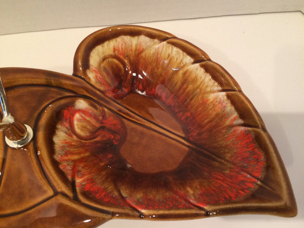 Retro Genuine 1960s California Originals by Maurise Dip/Nuts  Bowls Lava Fire Pottery In Leaf Design with Center Handle
