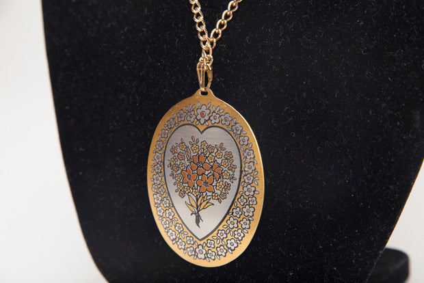 Demascene Vintage Pendant Reed & Barton Silver/Gold Tone Inlaid Tapestry Bouquet Heart Design
