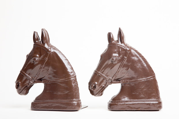VINTAGE 1940s Syroco Wood  Horse Head BOOKENDS Hand Painted