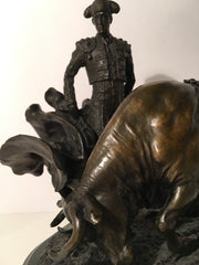 Matador Bull Bronze  Sculpture & Marble Base Signed A.Paredes Genuine Authentic ART