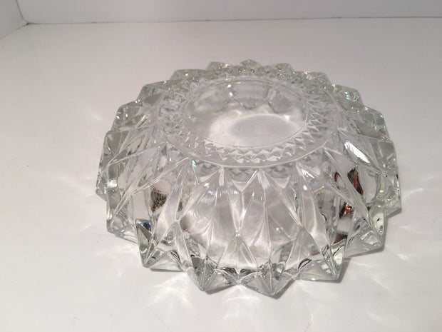 Crystal Diamond Inverted Diamond Edge Candy Dish/Ashtray VINTAGELOVEANTIQUES