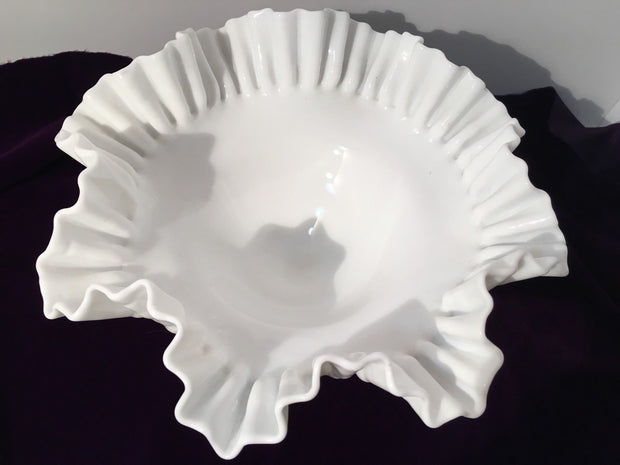 Fenton Vintage Hobnail Ruffled Ribbed Pedestal Large Wide Open Bowl Cottage Chic