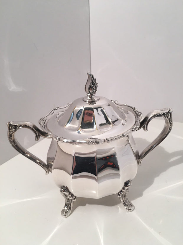 Vintage Rogers Bros. Magic Rose Coffee Pot/Tea Pot Sugar Creamer 3 pc Set Heavy Silver Plate