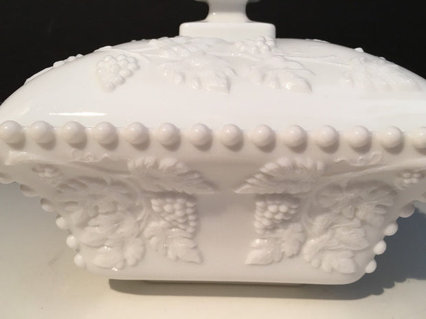 Westmoreland Large Beaded Covered Box Grapes Leaves Pattern Milk Glass  1950s