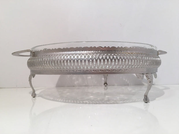 Vintage Daisy & Buttons Condiments Serving Dish with  Silver Tray 5 Sectioned Pressed Clear Glass
