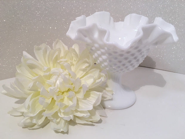 Fenton Vintage Hobnail Ruffled Tall Ribbed Pedestal Bowl Cottage Chic