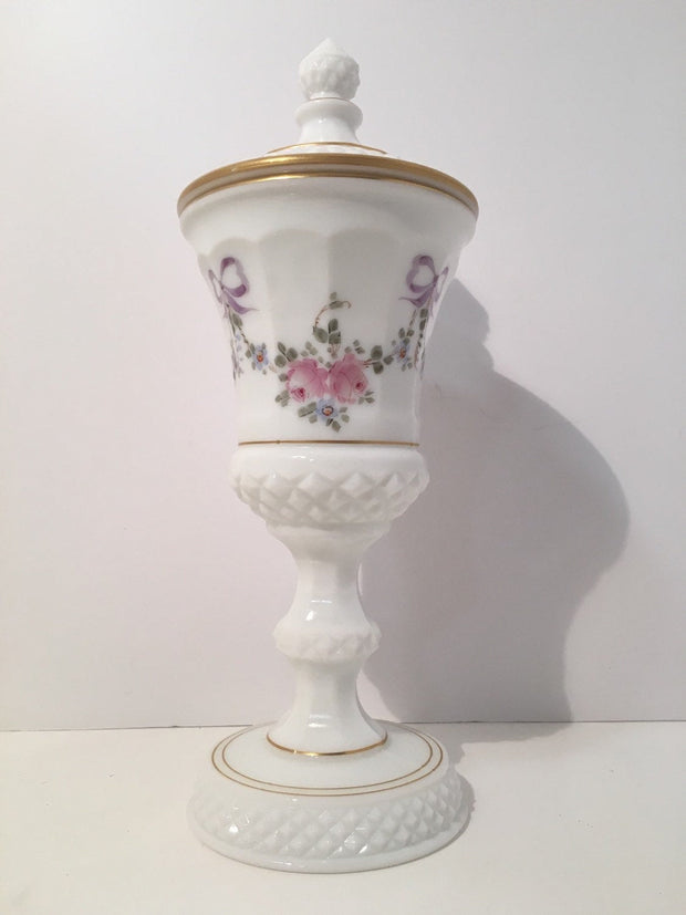 VINTAGE WESTMORELAND MILK Glass White Lidded Tall Compote HandPainted Flowers & Bows