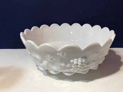 Round Milk Glass Vintage Bowl Paneled Grape by WestMoreland