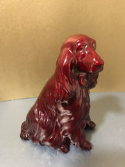 Zsolnay Eosin Porcelain Spaniel Dog Figurine Red Iridescent