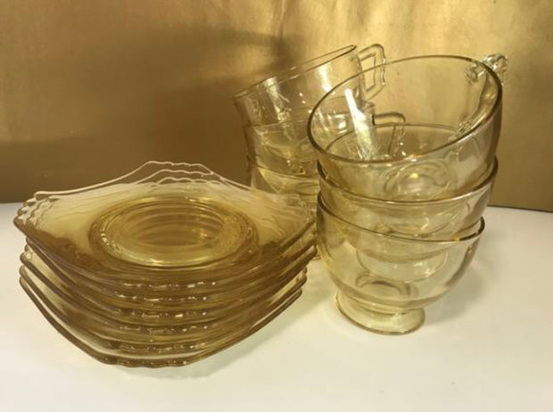 Antique/Vintage Coffee/Tea Cup & Saucer Set Clear Yellow Depression Glass 1930s