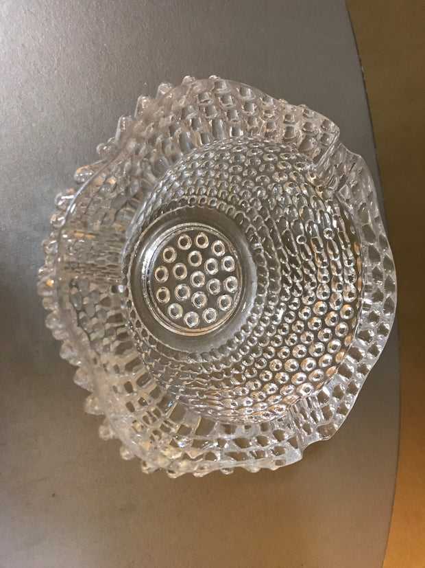Vintage Clear Glass Hobnail Chunky Ashtray