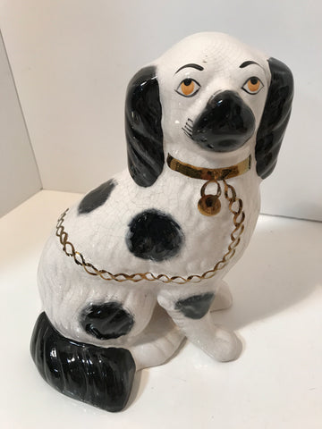 Antique Straffordshire Dog Handpainted Antique Figurale  Black /White Spaniel Signed