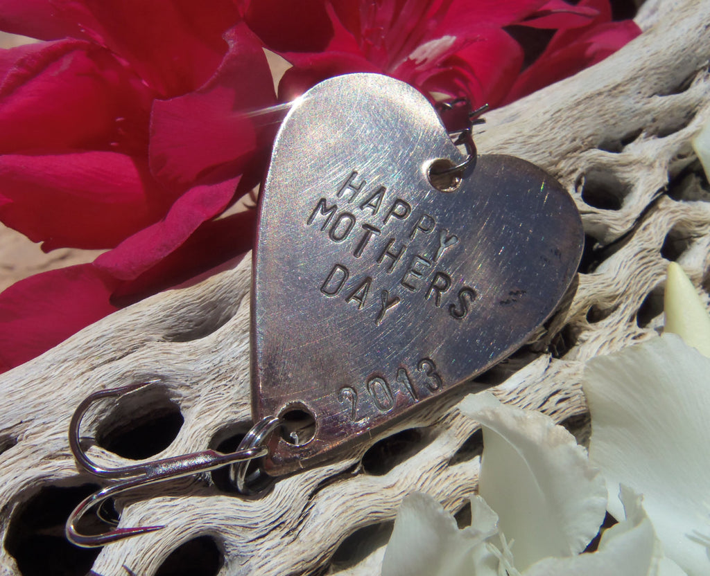 Personalized Gift for Her Handstamped Heart Fishing Lure Bronze Copper Brass Dad Husband Wife Mom Mother Mothers Day Fathers Day Christmas