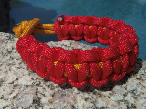 Red and Gold Handmade Handtied Paracord Parachute Survival Bracelet - Gift for Dad Father's Day Fishing Camping Hunting Backpacking