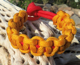 Gold and Red Handmade Custom 550 Paracord Survival Bracelet Survivalist Gift Outdoor Husband Father Son Boyfriend Fish Camp Hike Rock Climb