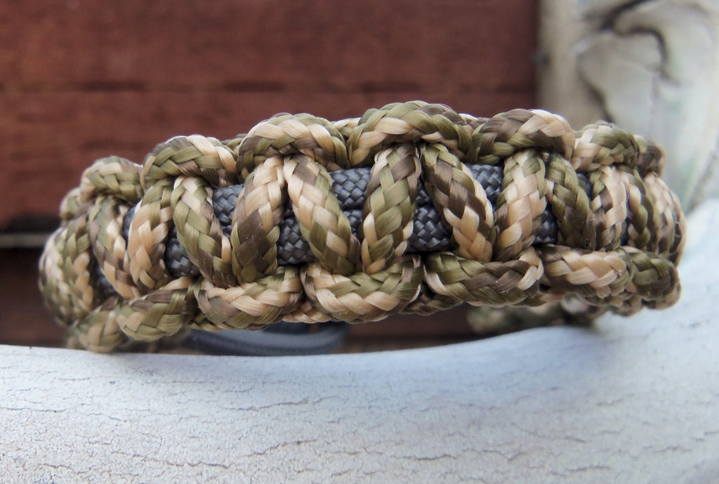 Paracord Bracelet in Camouflage and Grey  - Hand made Custom 325 Survivalist Gear - Camo Gift for Hunter Outdoorsman Fisherman Climber Hiker