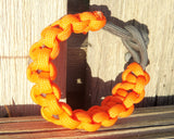 Orange Gray Handmade Custom Paracord Parachute Survival Bracelet Survivalist Gift Outdoor Husband Father's Day Fishing Camping Hunting Climb